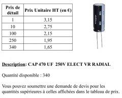 CONDENSATEURS CAP 470 µF 250V ELECT VR RADIAL (-40° ~ 105°)